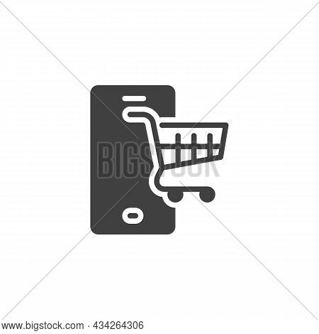 Mobile Shopping Vector Icon. Filled Flat Sign For Mobile Concept And Web Design. Mobile Device With