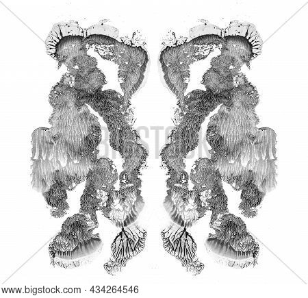 Handmade Black And White Rorschach Inkblot Test Card On White Paper. Mental Diagnostic Test. Fine Ab