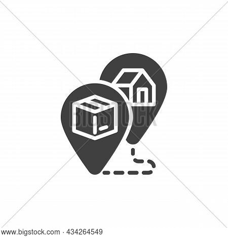 Track Order Vector Icon. Filled Flat Sign For Mobile Concept And Web Design. Shipment Tracking Glyph