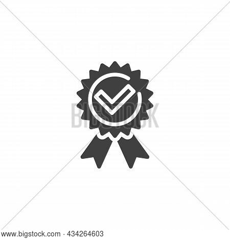 Quality Award Vector Icon. Filled Flat Sign For Mobile Concept And Web Design. Medal With Check Mark