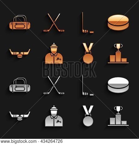 Set Hockey Coach, Puck, Over Sports Winner Podium, Medal, Ice Hockey Sticks And, Sport Bag And Icon.