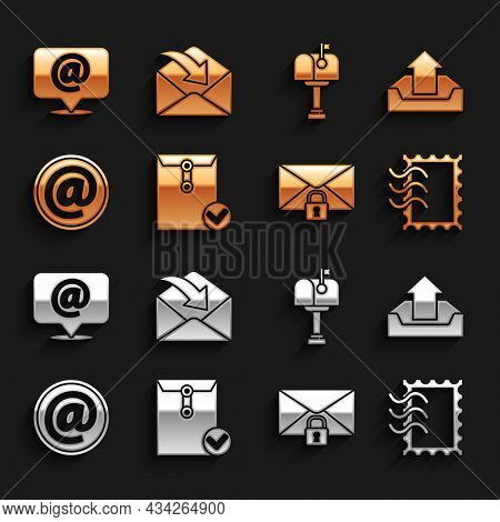 Set Envelope And Check Mark, Upload Inbox, Postal Stamp, Mail Message Lock Password, E-mail, On Spee