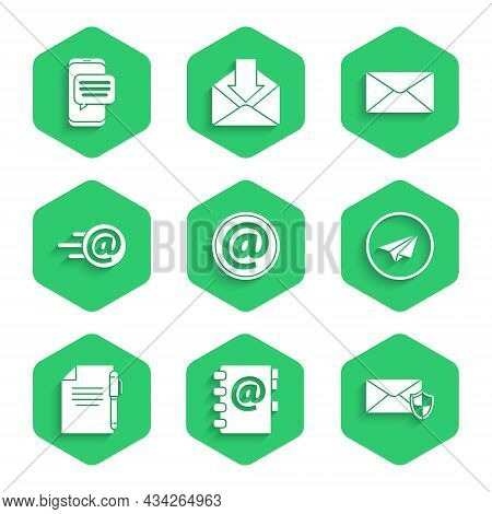 Set Mail And E-mail, Address Book, Envelope With Shield, Paper Plane, Document Pen, And Chat Message