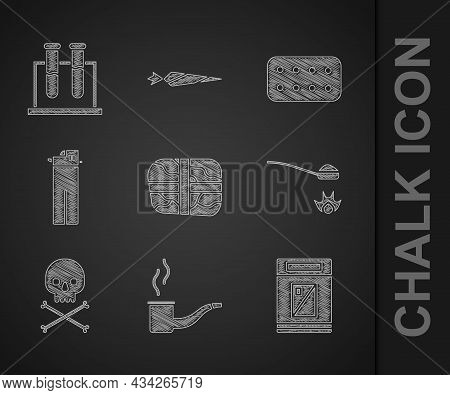 Set Package With Cocaine, Smoking Pipe, Cigarettes Pack Box, Heroin Spoon, Skull Crossbones, Lighter