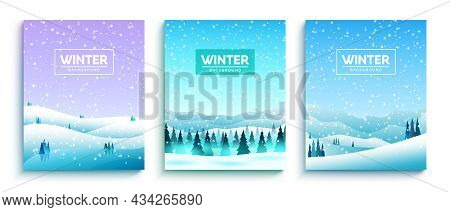 Winter Background Vector Set. Winter Text In Snowy Forest Landscape With Snowfall, Fir Trees And Mou