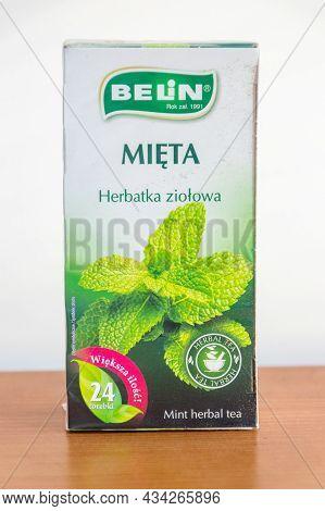 Pruszcz Gdanski, Poland - June 28, 2021: Belin Mint Herbal Tea.
