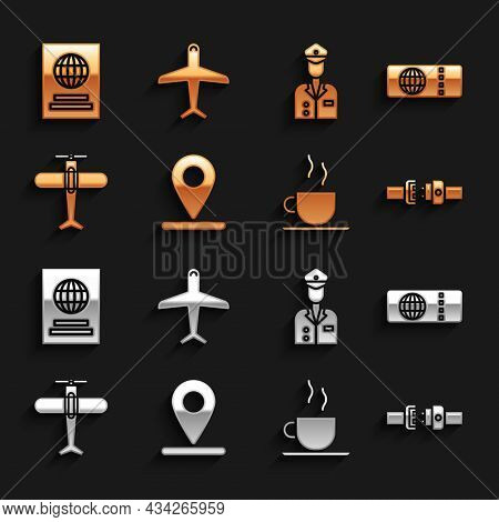 Set Location, Airline Ticket, Safety Belt, Coffee Cup, Plane, Pilot, Passport And Icon. Vector
