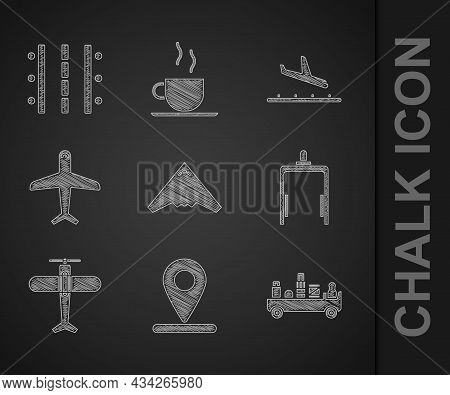 Set Jet Fighter, Location, Airport Luggage Towing Truck, Metal Detector Airport, Plane, Landing And
