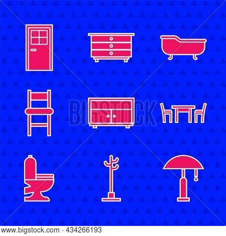 Set Chest Of Drawers, Coat Stand, Table Lamp, Wooden Table With Chair, Toilet Bowl, Chair, Bathtub A