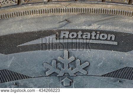 Pruszcz Gdanski, Poland - July 1, 2021: Detail With Rotation Direction And Snowflake Icon On Zeetex