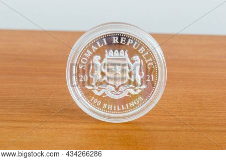 Pruszcz Gdanski, Poland - July 8, 2021: 100 Shillings Of Somali Republic, 1 Oz Silver Coin.