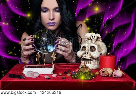 Female Psychic With Crystal Ball And Tarot Cards, Shallow Dof
