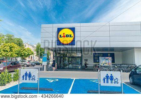 Pruszkow, Poland - June 15, 2021: Lidl Shop. Lidl Stiftung And Co. Kg Is A German International Disc
