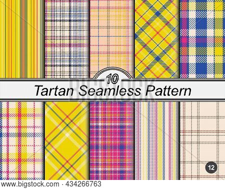 Checkered Classical Pattern Set Tartan. Argyle Pattern. Abstract Seamless Texture. Traditional Color