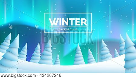 Winter Northern Lights Vector Background Design. Winter Text With Aurora Borealis And Fir Trees Elem