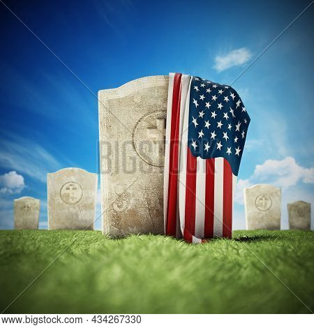 American Flag On Gravestone In Veterans Cemetery. 3d Illustration.