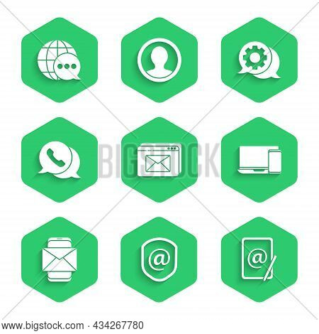 Set Website And Envelope, Shield With Mail E-mail, Mail, Monitor Phone, Mobile, Telephone Speech Bub