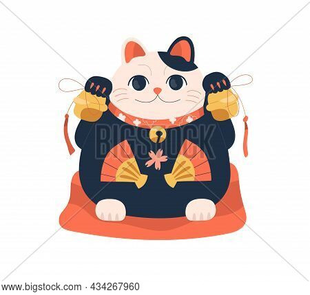 Fat Maneki-neko With Bells In Both Paws. Japanese Lucky Cat On Pillow. Traditional Asian Beckoning F