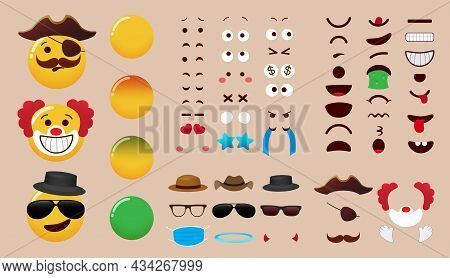 Emoji Creator Vector Set Design. Emoticon Character Kit With Eyes, Mouth And Costume Editable Elemen
