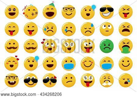 Emoji Collection Vector Set. Emoticons Cute Characters With Party, Cool, Crazy And Happy Emojis Face