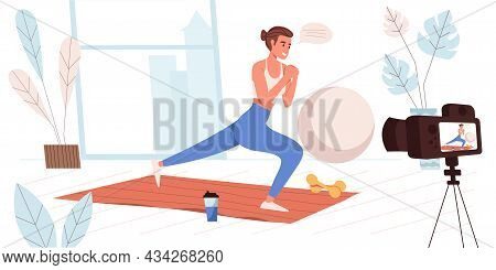 Blogging Concept In Flat Design. Blogger Recording Workout At Home. Fitness Trainer Doing Exercises