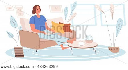 Dreaming People Concept In Flat Design. Happy Woman Are Sitting, Dreaming And Enjoys Resting, Readin