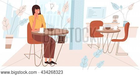 Dreaming People Concept In Flat Design. Happy Woman Are Sitting At Table In Cafe, Drinking Coffee, D