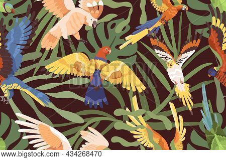 Parrots In Jungles Pattern. Seamless Background With Tropical Birds And Palm Leaf. Endless Repeating