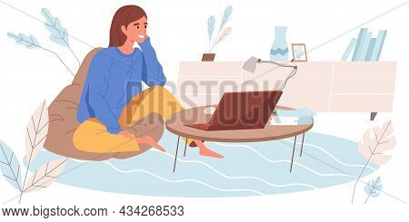 Working At Home Concept In Flat Design. Woman Remotely Works On Laptop Sitting At Bag Chair. Freelan