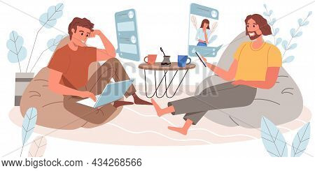 Browse Social Network Concept In Flat Design. Happy Men Uses Smartphone Or Laptop, Looks At Friends