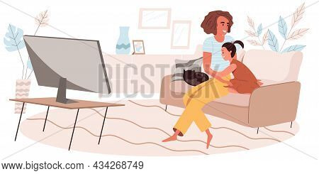 Family Activity Concept In Flat Design. Hugging Mother And Daughter Watching Movie Or Tv Together Wh
