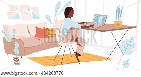 Freelance Working Concept In Flat Design. Woman Working On Laptop While Sitting At Desks In Cozy Hom