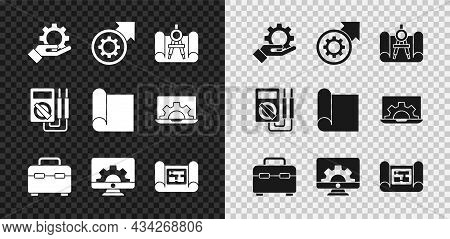 Set Settings In The Hand, Gear Arrows As Workflow Process, Graphing Paper Compass, Toolbox, Computer