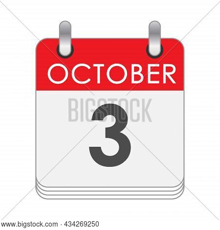 October 3. A Leaf Of The Flip Calendar With The Date Of October 3. Flat Style.