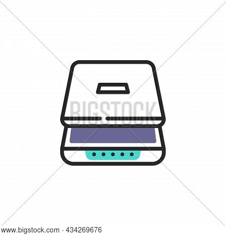 Document Scanner Line Icon. Linear Style Sign For Mobile Concept And Web Design. Scanner Outline Vec