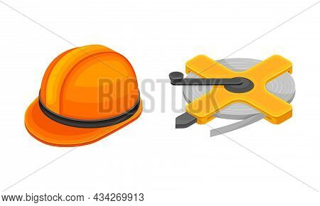 Mining Geological Industry Tools Set. Safety Hardhat And Rope Reel Vector Illustration