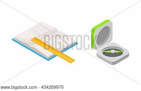 Geological Industry Tools Set. Notebook, Ruler And Compass Tool Vector Illustration