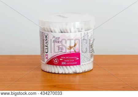 Pruszcz Gdanski, Poland - July 11, 2021: Cleaninc Biodegradable Paper Stickers Of Cotton Buds.