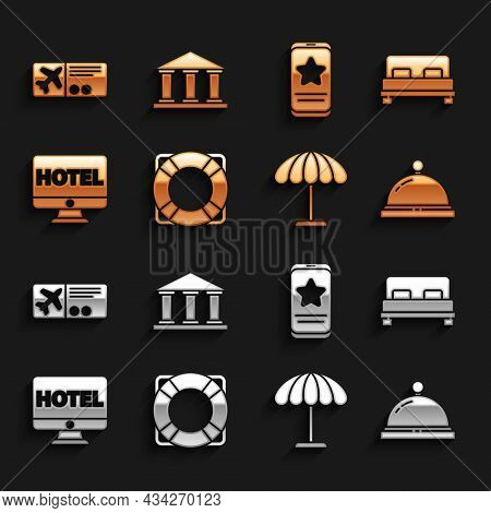 Set Lifebuoy, Big Bed, Hotel Service Bell, Sun Protective Umbrella For Beach, Online Hotel Booking,