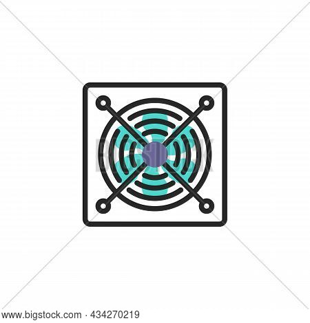 Fan, Blower Line Icon. Linear Style Sign For Mobile Concept And Web Design. Computer Cooler Outline