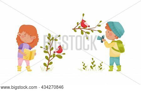 Cute Kids Exploring Birds In Forest Or Park Set. Nature Lovers Photographing And Reading Book Cartoo