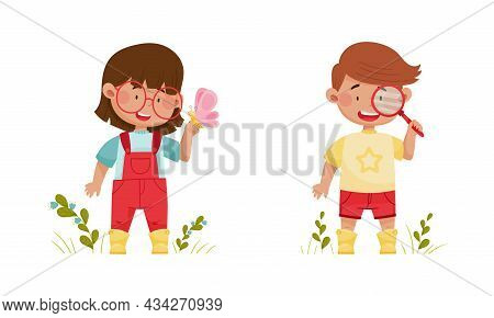 Cute Kids Exploring Insects In Forest Or Park Set Cartoon Vector Illustration