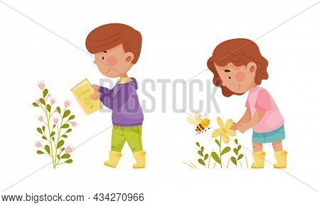 Cute Kids Exploring Plants And Insects In Forest Or Park Set Cartoon Vector Illustration