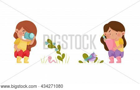 Cute Kids Nature Lovers Exploring Insects And Birds In Park Cartoon Vector Illustration