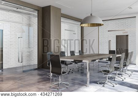 Modern Brick And Wooden Conference Room Interior. Presentation And Work Concept. 3d Rendering