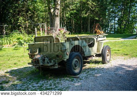 Rogers City, Mi - July 16th: Classic World War 2 Jeep Willis In Rogers City July 16th, 2021.