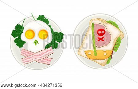 Creative Meal Dishes For Kids Served On Plates Set. Serving Ideas For Healthy Breakfast. Fried Eggs
