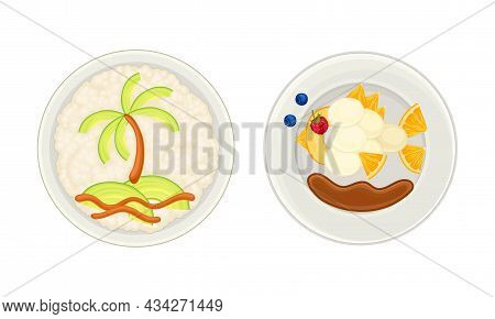 Creative Meal Dishes Served On Plates Set. Serving Ideas For Healthy Breakfast For Kids Cartoon Vect