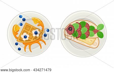 Creative Meal Dishes For Kids Served On Plates Set. Serving Ideas For Healthy Breakfast, Waffle And
