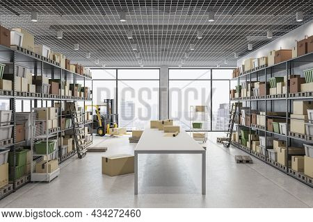 Modern Warehouse With Racks, Boxes, City View And Daylight. Logistics And Shipping Concept. 3d Rende
